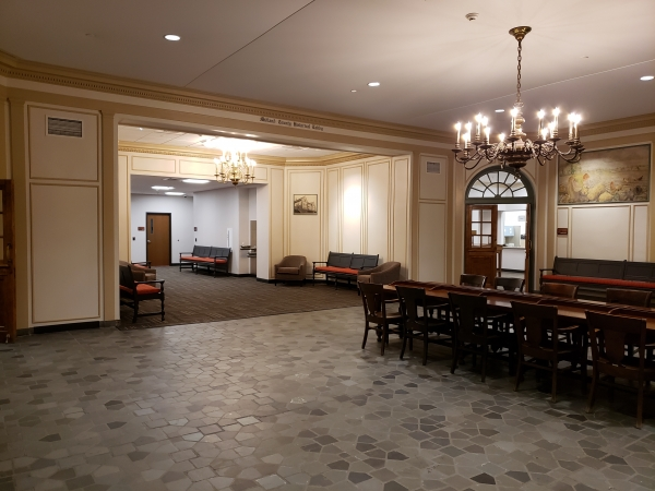 Historical Lobby with lighting and acoustical upgrades.