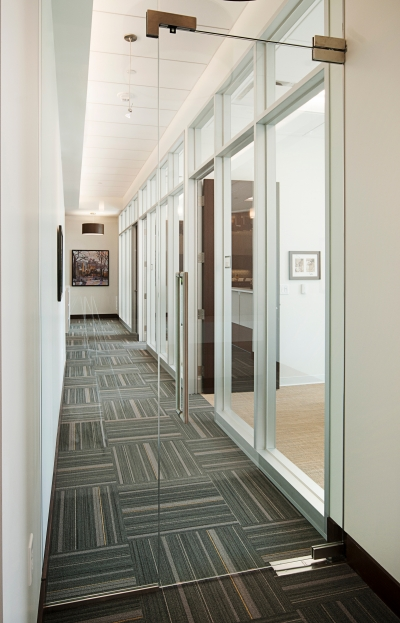 "Frameless glass door separating main conference room ""gallery"" area from private offices."