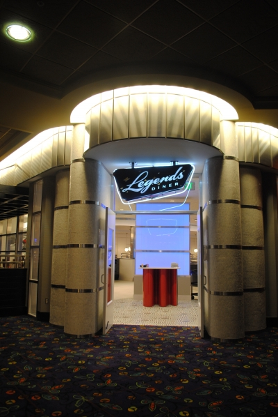 "Entrance to ""Legends"" diner."